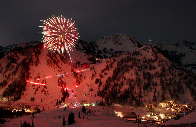 Fireworks at Alta's Rustler Lodge.