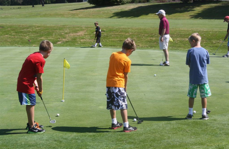 Group golfing at Sebasco Harbor Resort.