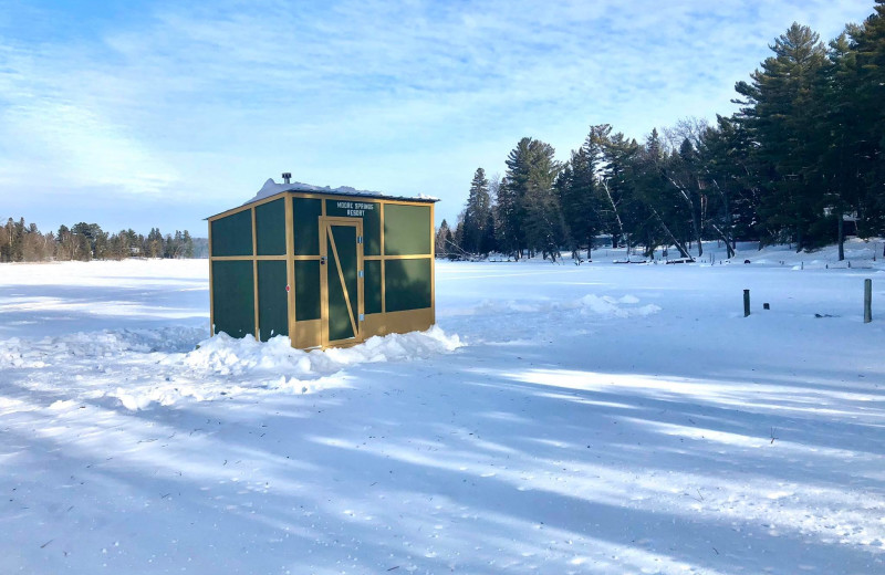 Ice fishing at Moore Springs Resort.