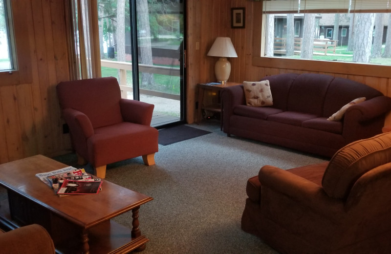 Cabin living room at Evergreen Bay Resort.