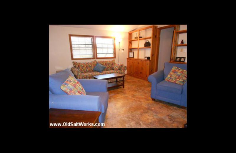 Cabin living room at Old Saltworks Cabins.