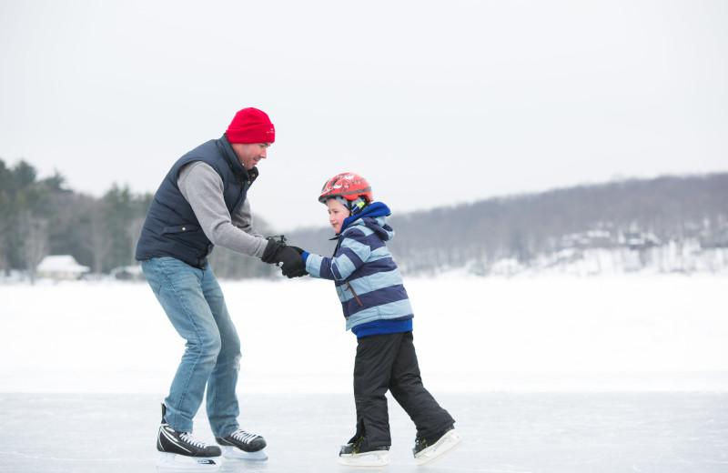 Ice skating at Woodloch Resort.