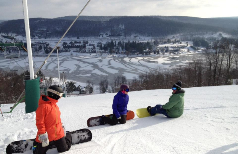 Friends Snowboarding at Wisp Resort