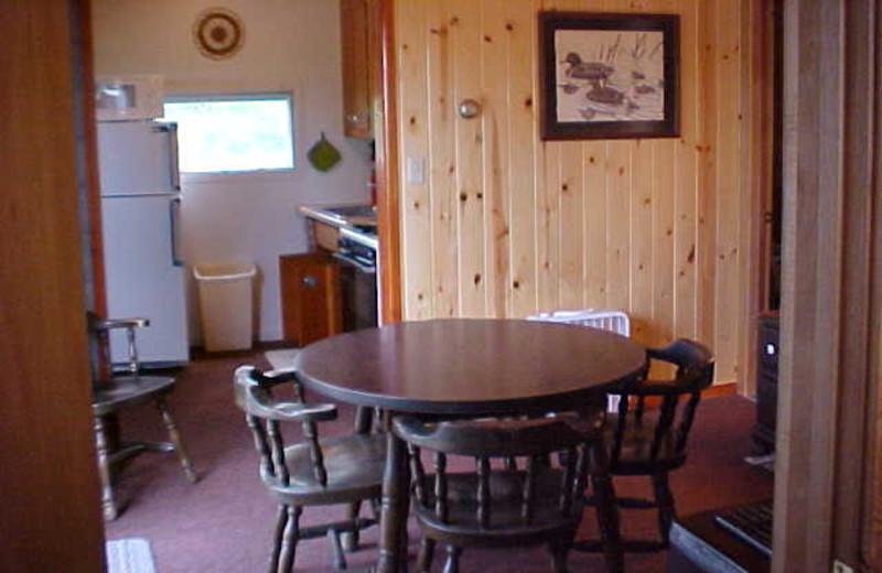 Cabin dining area at Tamarack Resort.