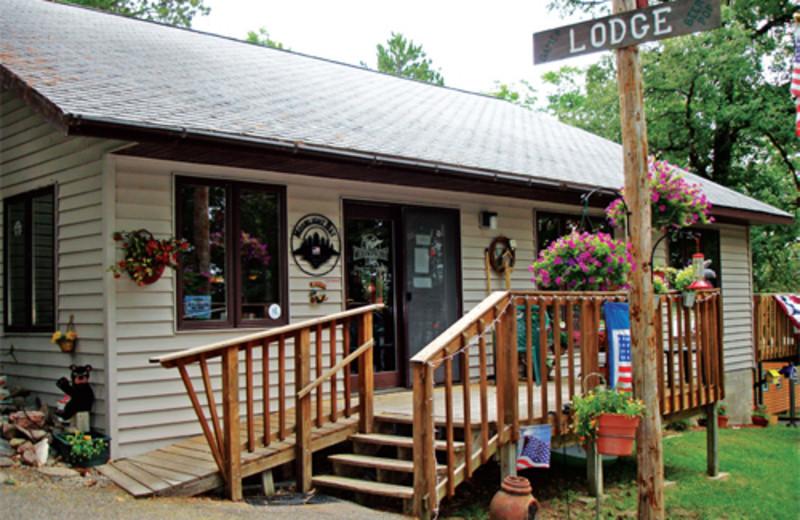 Cabin exterior at Moonlight Bay Resort.