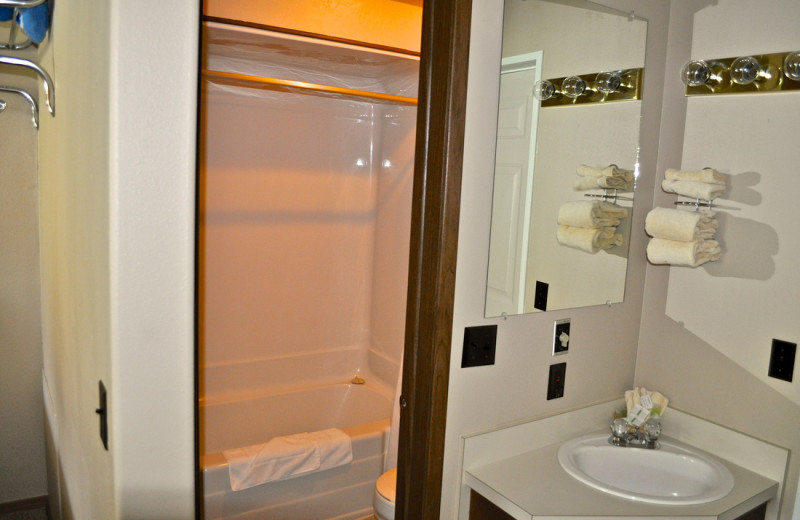 Guest bathroom at Sawtelle Mountain Resort.