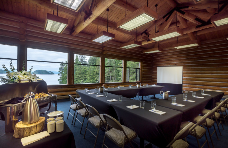 The Falls Meeting Room at Salmon Falls Resort with breathtaking views of the bay