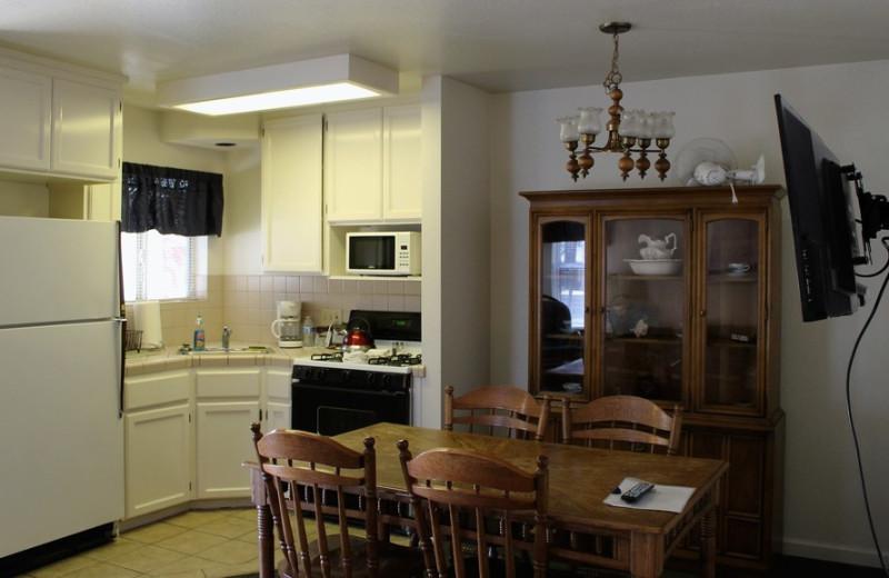 Cabin kitchen at Long Barn Lodge.