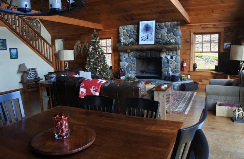 Cabin living room at Linville Cabins.