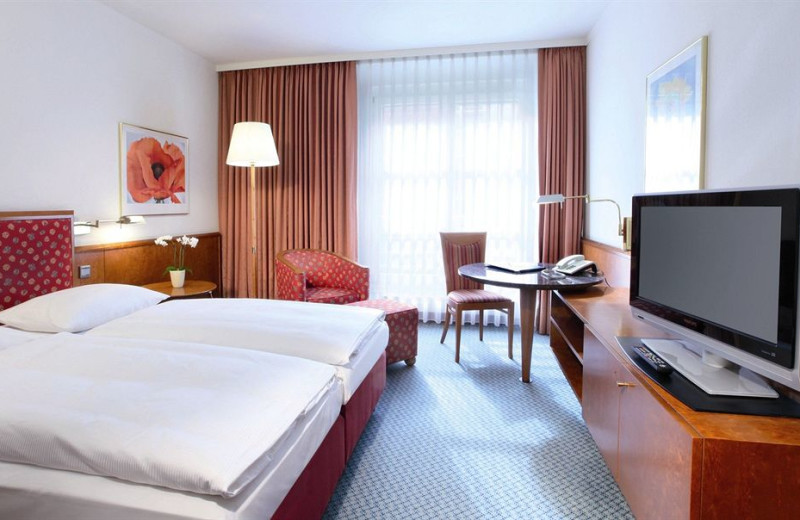 Guest room at Lindner Hotel Leipzig.