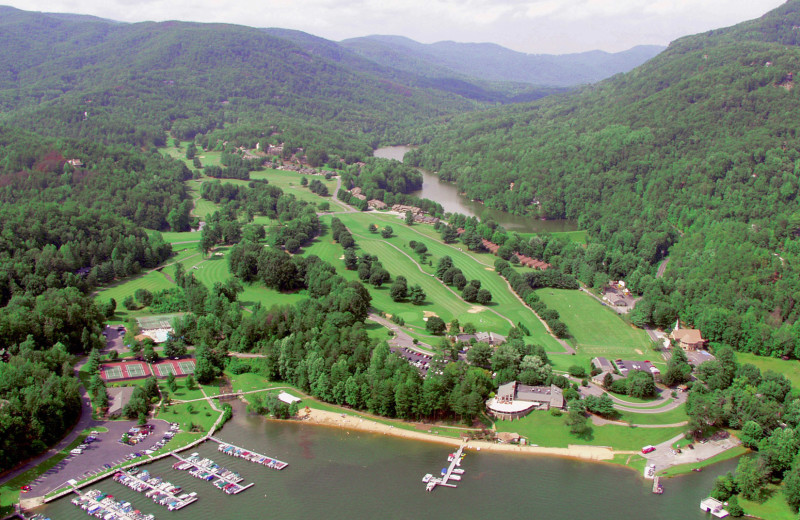 Aerial view of Rumbling Bald Resort.