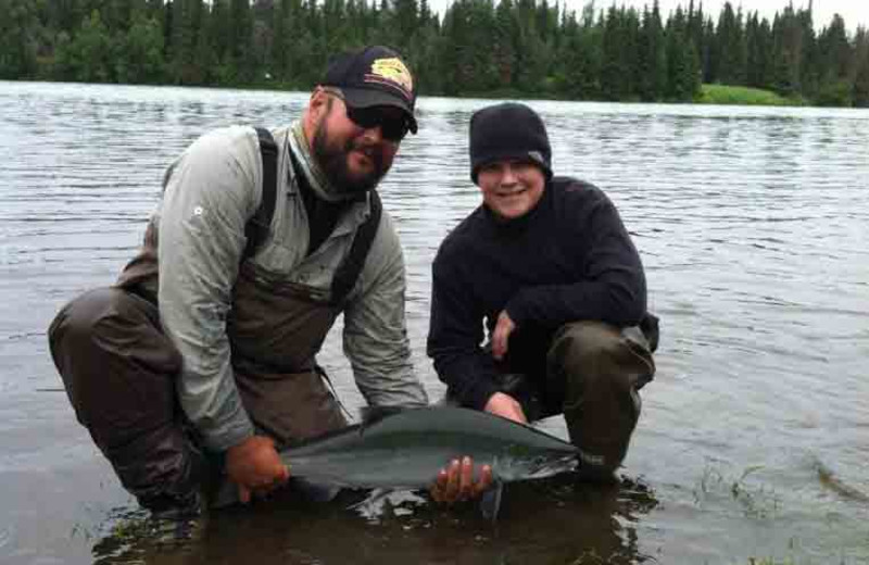 Family fishing at Great Alaska Adventure Lodge.