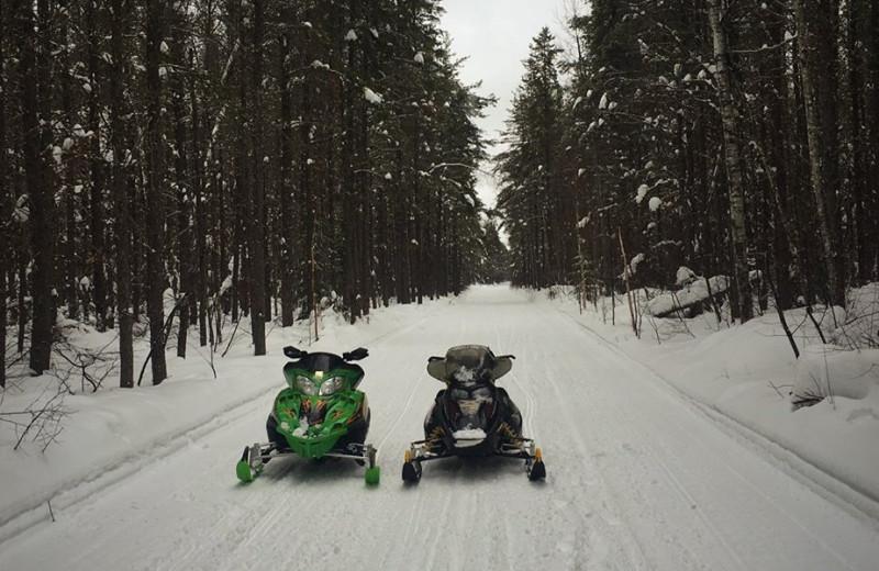 Snowmobiling at Elk Lake Wilderness Resort.