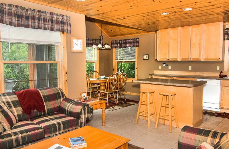 Cabin interior at Skyport Lodge.
