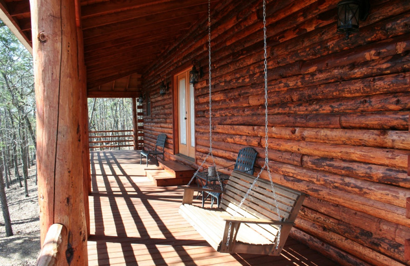 Cabin porch at Lake Mountain Cabins.