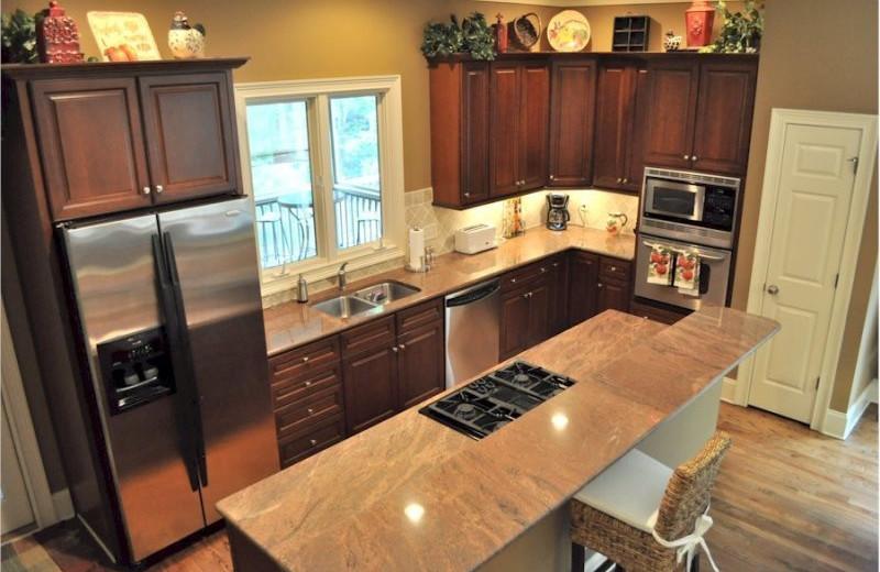 Rental kitchen at Mountain Vista Rentals.