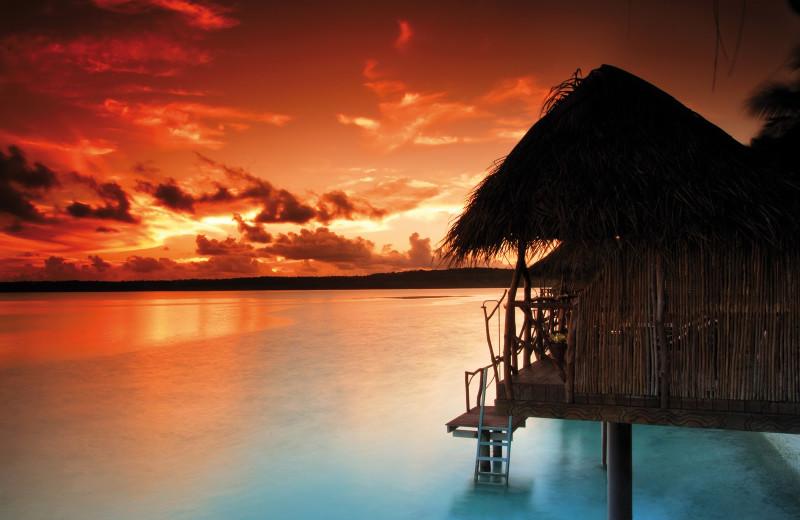 Sunset at The Aitutaki Lagoon Resort & Spa.