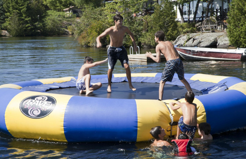 Water trampoline at Severn Lodge.