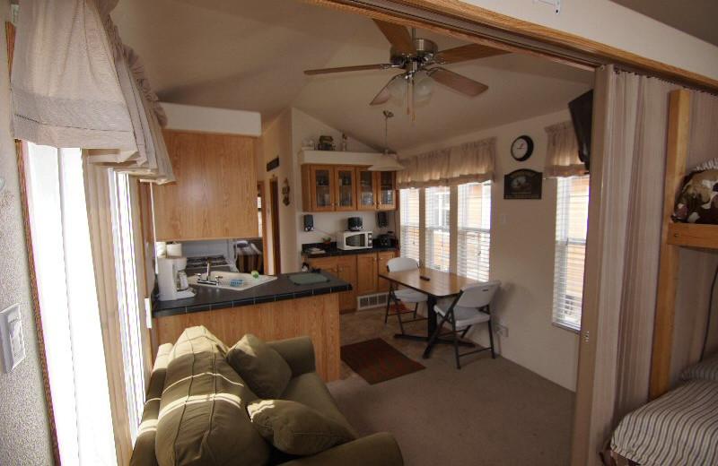 Cabin interior at Devils Lake Adventures.