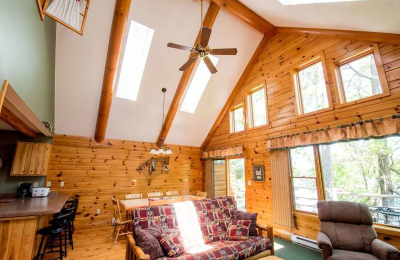 Cabin living room at Breezy Point Resort on Straight Lake.