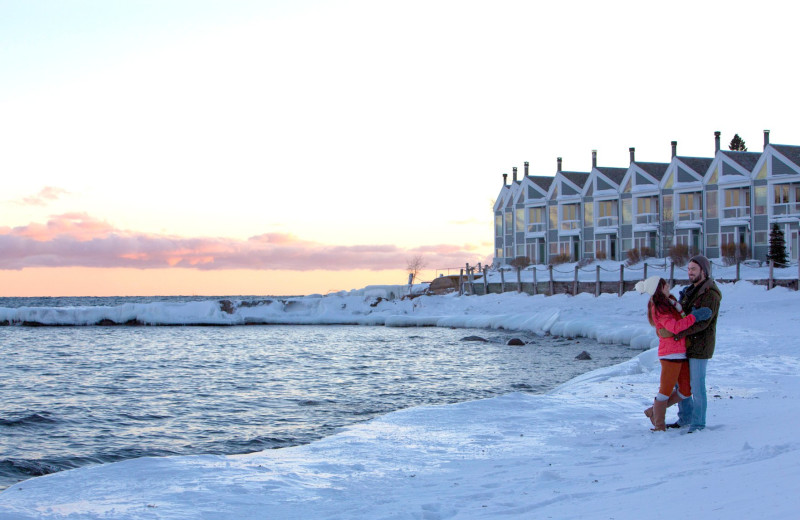 Couple at Bluefin Bay on Lake Superior.