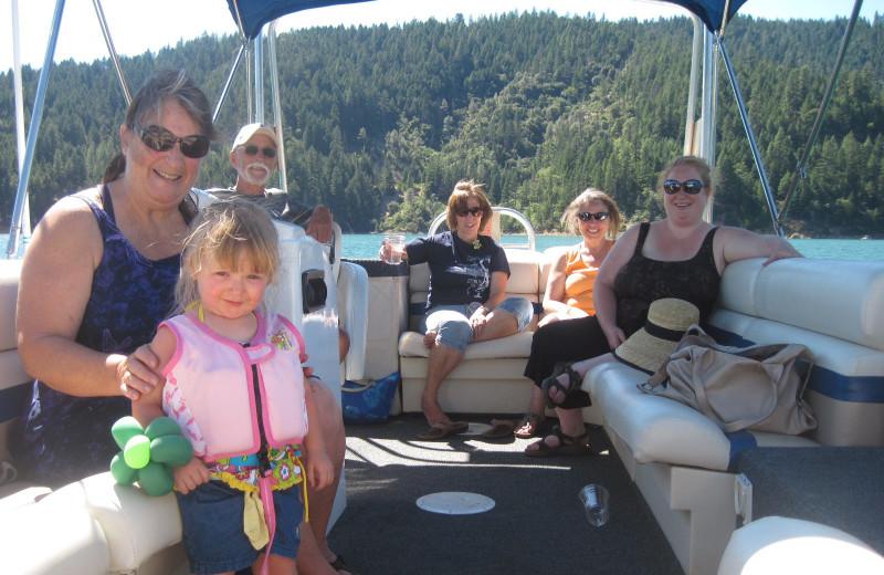 Family on a pontoon at Trinity Lake.