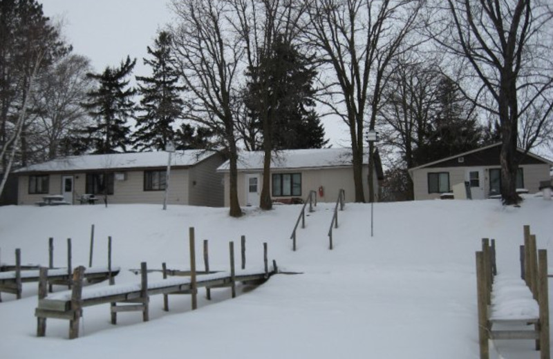Cottages in the Winter at Adrian's Resort.
