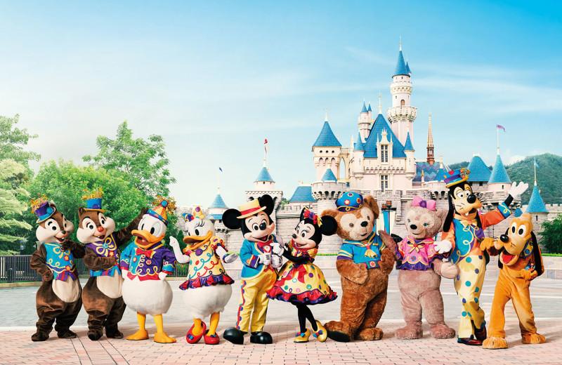 Disney characters at Hong Kong Disneyland.