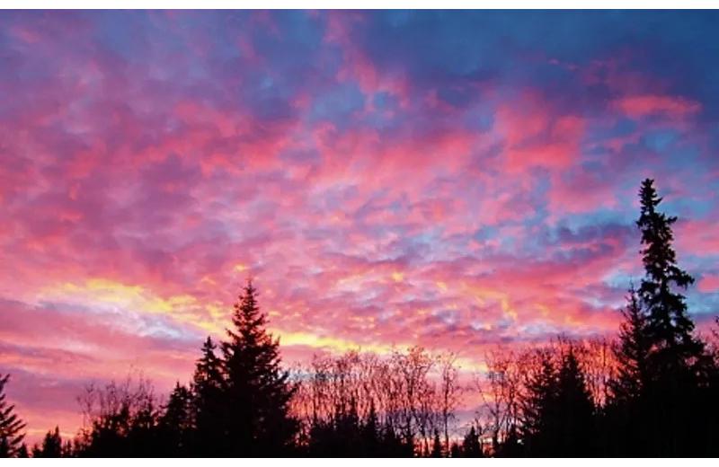 Sunset at Sleepy Bear Cabins.