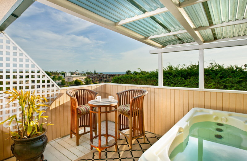 Private hot tub at Inn at Moonlight Beach.