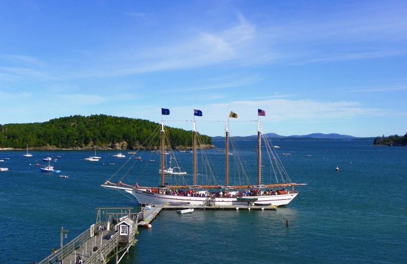 Ship by the pier at Bar Harbor Inn & Spa.