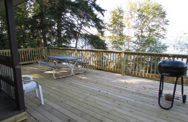 Cabin deck at Pine Aire Resort.