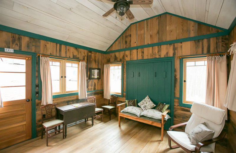 Tiny house living room at Blue Moon Rising.
