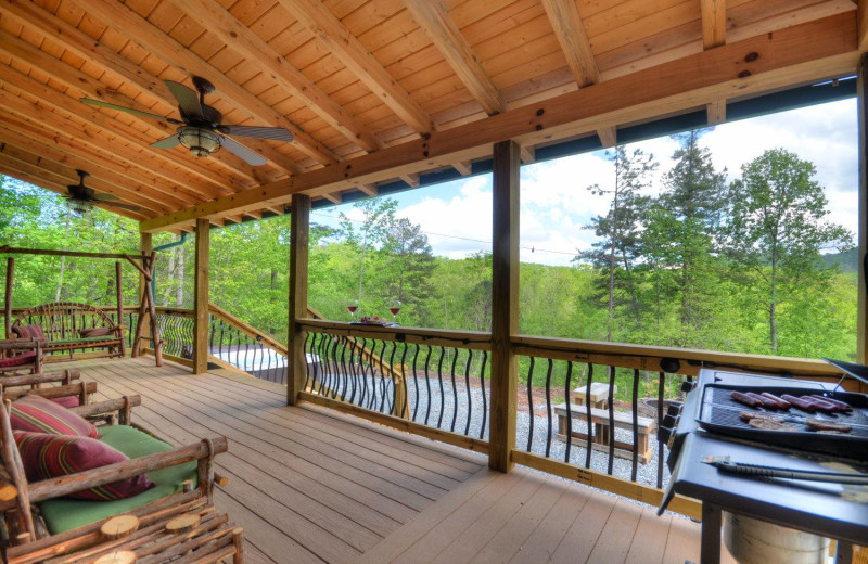Rental deck at Smoky Mountain Cabins.