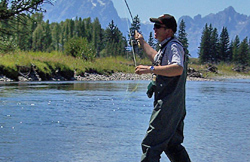 Fishing at Luton's Teton Cabins