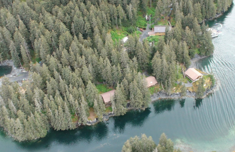 Aerial view of Afognak Wilderness Lodge.
