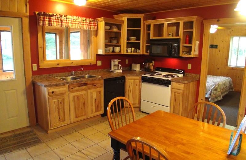 Cabin kitchen at Woodland Beach Resort.