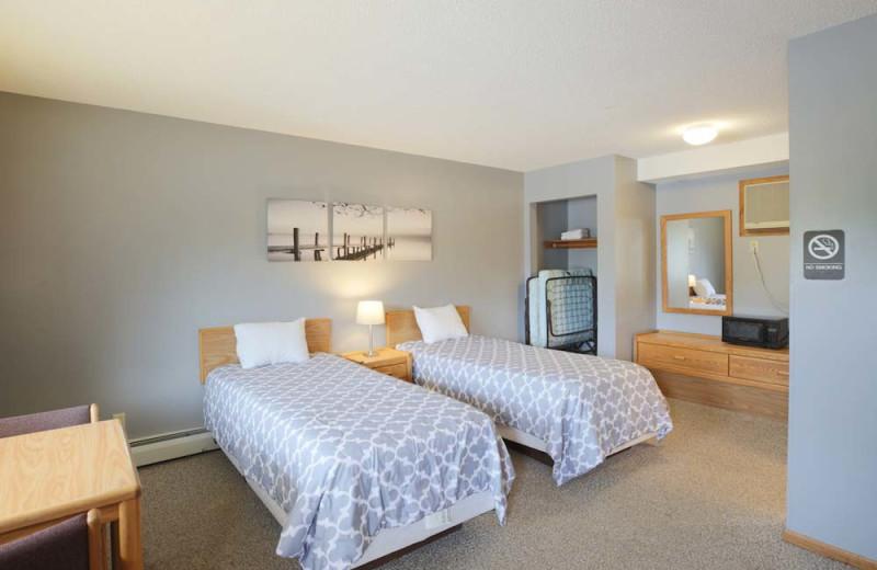Motel bedroom at The Red Door Resort.