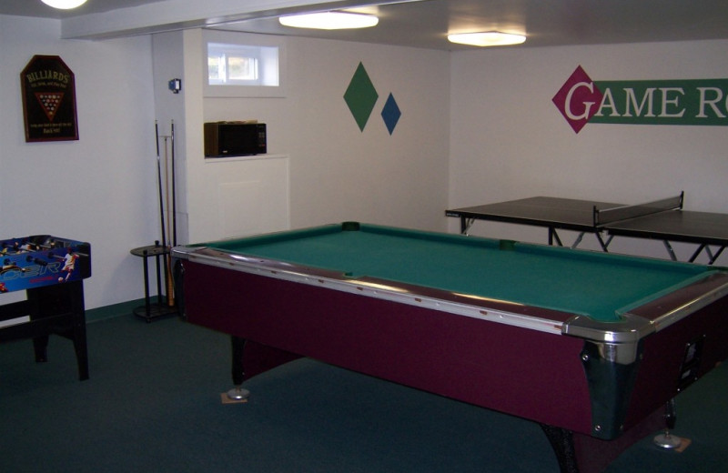 Game room at Highland Lake Resort.