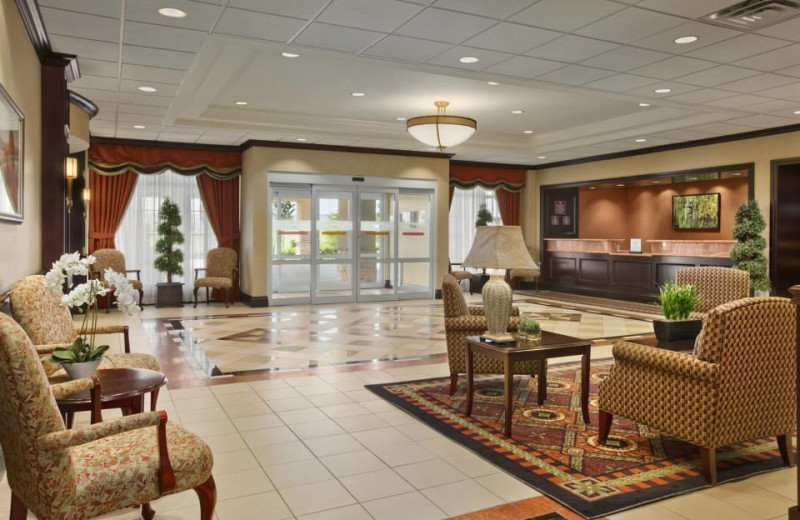 Lobby view at Homewood Suites by Hilton Cambridge Waterloo Ontario.