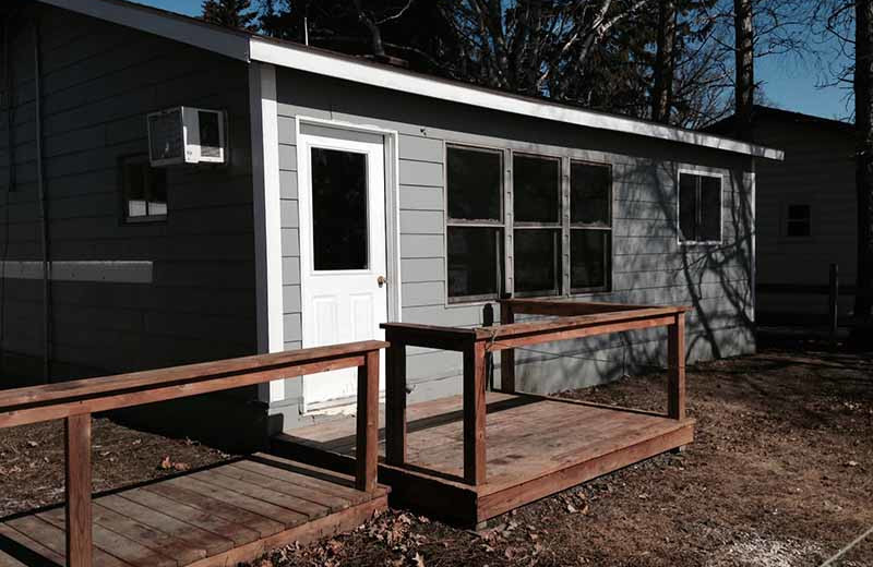 Cabin exterior at River Bend's Resort & Walleye Inn.