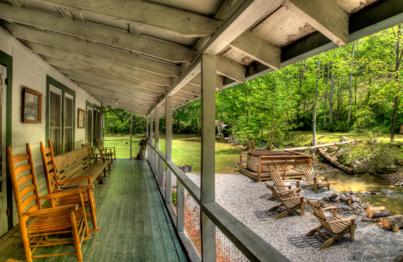 Rental porch at Hidden Creek Cabins.