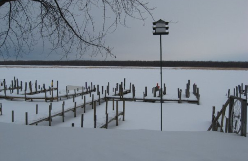 Winter view of the Lake at Adrian's Resort.