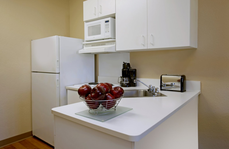 Guest kitchen area at Extended Stay America Austin.