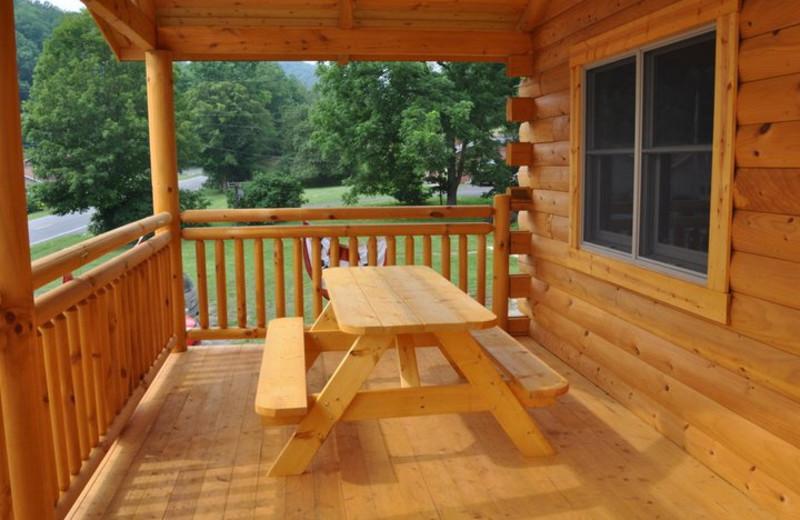 Deck at Harman's Luxury Log Cabins.