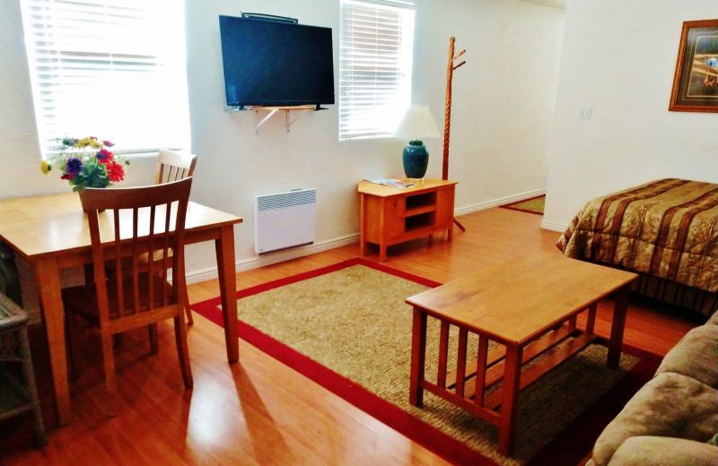 Cabin living room at East Glacier Motel & Cabins.