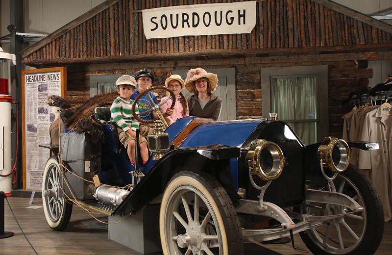 Family in museum at Wedgewood Resort.