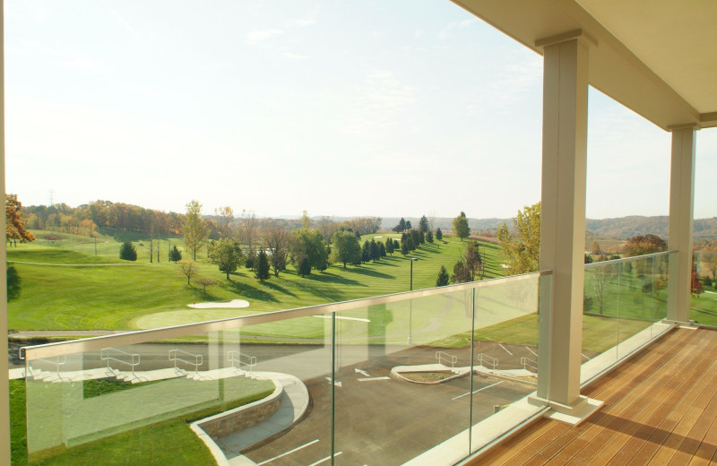 Balcony view of golf course at Lenape Heights Golf Resort.