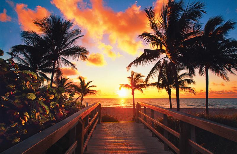 Beach sunset at Knights Inn Hallandale Beach.