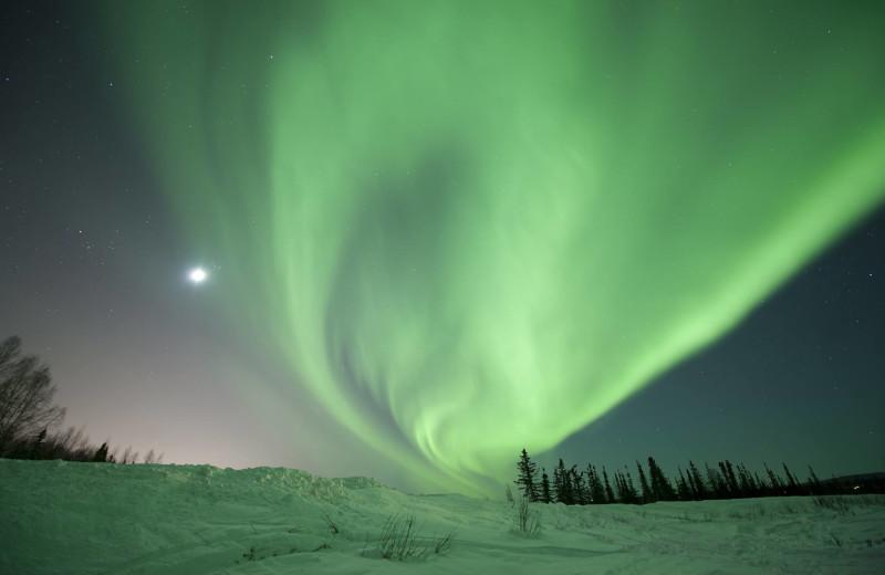 Northern lights at Mt Aurora Fairbanks Creek Lodge.
